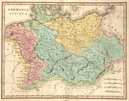 Detailed ancient map of Germany at the time of the Roman Empire (Germania Antiqua)