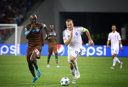 gusev: KYIV, UKRAINE - SEPTEMBER 16, 2015: Oleh Gusev of Dynamo Kyiv R fights for a ball with Danilo of FC Porto during their UEFA Champions League game at NSC Olimpiyskyi stadium