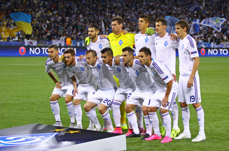 gusev: KYIV, UKRAINE - SEPTEMBER 16, 2015: FC Dynamo Kyiv players pose for a group photo before UEFA Champions League game against FC Porto at NSC Olimpiyskyi stadium