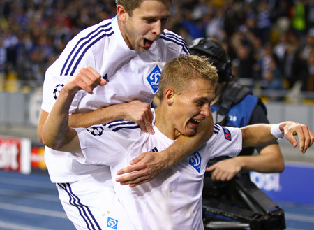 KYIV, UKRAINE - SEPTEMBER 16, 2015: Artem Kravets L and Vitaliy Buyalskiy of FC Dynamo Kyiv react after Buyalskiy scored a goal during UEFA Champions League game against FC Porto