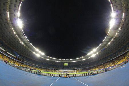 KYIV, UKRAINE - SEPTEMBER 16, 2015: Panoramic view of NSC Olimpiyskyi stadium in Kyiv during UEFA Champions League game between FC Dynamo Kyiv and FC Porto Editorial