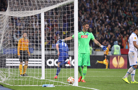 reacts: KYIV, UKRAINE - MAY 14, 2015: Goalkeeper Mariano Andujar SSC Napoli reacts after missed a goal during UEFA Europa League semifinal game against FC Dnipro at NSK Olimpiyskyi stadium in Kyiv