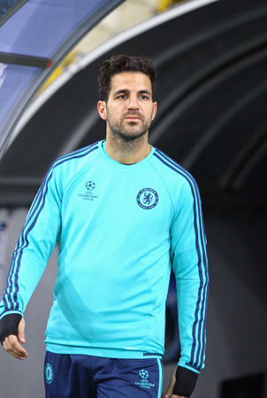 KYIV, UKRAINE - OCTOBER 19, 2015: Cesc Fabregas of FC Chelsea walks on during training session at NSC Olimpiyskyi stadium before UEFA Champions League game against FC Dynamo Kyiv