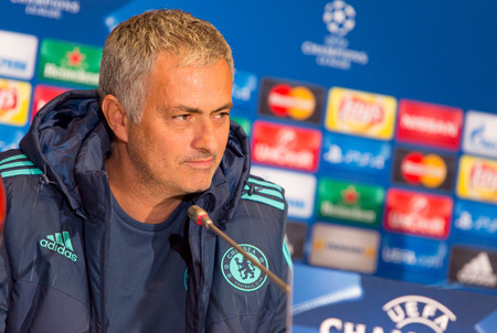 chelsea: KYIV, UKRAINE - OCTOBER 19, 2015: FC Chelsea manager Jose Mourinho attends press-conference before UEFA Champions League game against FC Dynamo Kyiv at NSC Olimpiyskyi stadium Editorial