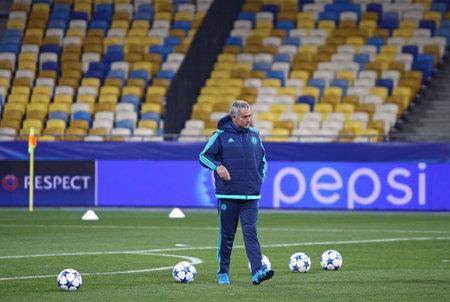 KYIV, UKRAINE - OCTOBER 19, 2015: FC Chelsea manager Jose Mourinho walks on the pitch during training session before UEFA Champions League game against FC Dynamo Kyiv at NSC Olimpiyskyi stadium
