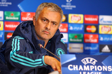 dynamo: KYIV, UKRAINE - OCTOBER 19, 2015: FC Chelsea manager Jose Mourinho attends press-conference before UEFA Champions League game against FC Dynamo Kyiv at NSC Olimpiyskyi stadium Editorial