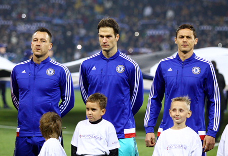 anthem: KYIV, UKRAINE - OCTOBER 20, 2015: FC Chelsea players listen official anthem before UEFA Champions League game against FC Dynamo Kyiv at NSC Olimpiyskyi stadium in Kyiv