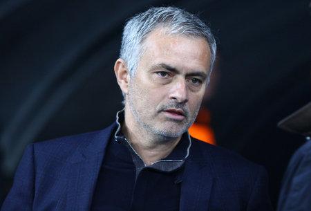 KYIV, UKRAINE - OCTOBER 20, 2015: FC Chelsea manager Jose Mourinho looks on during UEFA Champions League game against FC Dynamo Kyiv at NSC Olimpiyskyi stadium in Kyiv