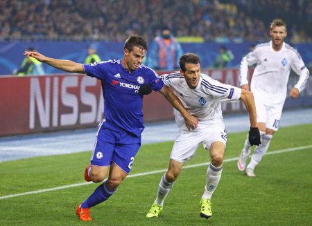 silva: KYIV, UKRAINE - OCTOBER 20, 2015: Danilo Silva of Dynamo Kyiv R fights for a ball with Cesar Azpilicueta of Chelsea during their UEFA Champions League game at NSC Olimpiyskyi stadium in Kyiv