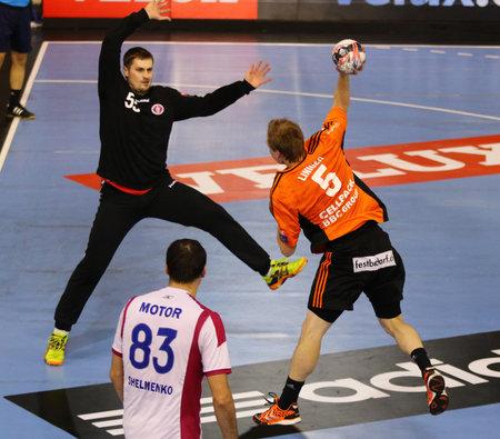 manuel: KYIV, UKRAINE - NOVEMBER 28, 2015: Manuel Liniger of Kadetten Schaffhausen R attacks during VELUX EHF Champions League 201516 Handball game against Motor