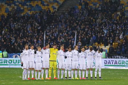 famine: KYIV, UKRAINE - NOVEMBER 29, 2015: Minute of silence to pay tribute to victims of Soviet famine of 193233 during Ukrainian Premier League game FC Dynamo Kyiv vs FC Chornomorets Odesa