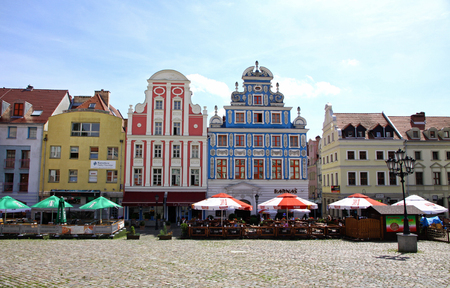 stare miasto: SZCZECIN, POLAND - AUGUST 1, 2012: Pretty facades of buildings in Szczecin Old Town Stare Miasto, Poland