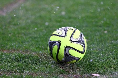 premier league: KYIV, UKRAINE - NOVEMBER 29, 2015: Close-up Ukrainian Premier League 201516 season ball Adidas CoNext15 on the grass during the game between FC Dynamo Kyiv and FC Chornomorets Odesa