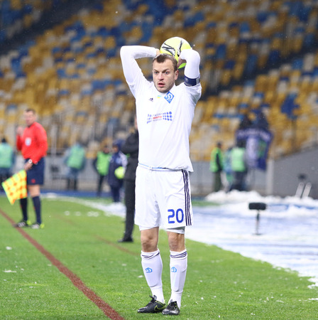 premier: KYIV, UKRAINE - NOVEMBER 29, 2015: Oleh Gusev of Dynamo Kyiv in action during Ukrainian Premier League game against FC Chornomorets Odesa at NSC Olimpiyskyi stadium Editorial