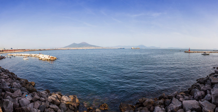 Napoli: Panoramic view of Gulf of Napoli and Mount Vesuvius on the background, Naples city, Italy Stock Photo