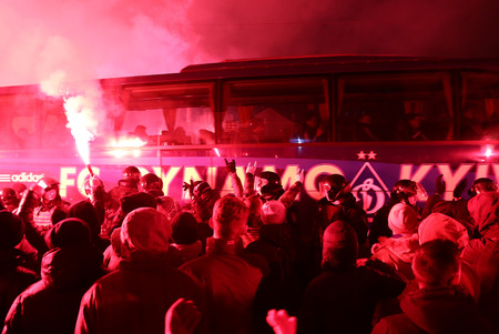 maccabi: KYIV, UKRAINE - DECEMBER 9, 2015: FC Dynamo Kyiv ultras support their team on the road to NSC Olimpiyskyi stadium before UEFA Champions League game against Maccabi Tel-Aviv Editorial