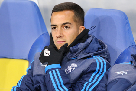 lucas: LVIV, UKRAINE - NOVEMBER 25, 2015: Lucas Vazquez of Real Madrid seats on the bench during UEFA Champions League game against FC Shakhtar Donetsk at Arena Lviv stadium