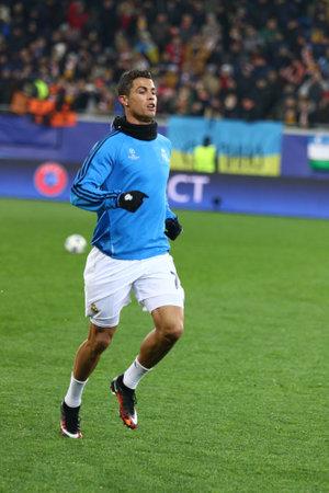 LVIV, UKRAINE - NOVEMBER 25, 2015: Cristiano Ronaldo of Real Madrid trains before UEFA Champions League game against FC Shakhtar Donetsk at Arena Lviv stadium