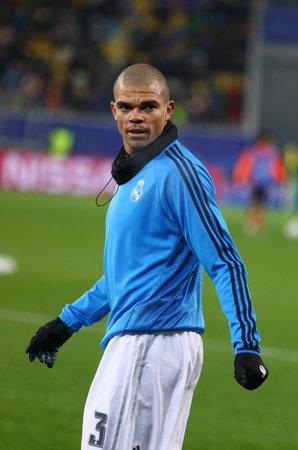 pepe: LVIV, UKRAINE - NOVEMBER 25, 2015: Pepe of Real Madrid trains before UEFA Champions League game against FC Shakhtar Donetsk at Arena Lviv stadium Editorial