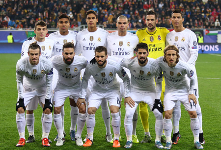 real man: LVIV, UKRAINE - NOVEMBER 25, 2015: Real Madrid players pose for a group photo before UEFA Champions League game against FC Shakhtar Donetsk at Arena Lviv