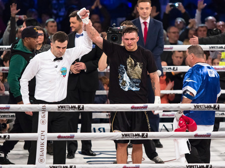 KYIV, UKRAINE - DECEMBER 12, 2015: Oleksandr Usyk of Ukraine reacts after winning the WBO Intercontinental cruiserweight Title in the fight with Pedro Rodriguez