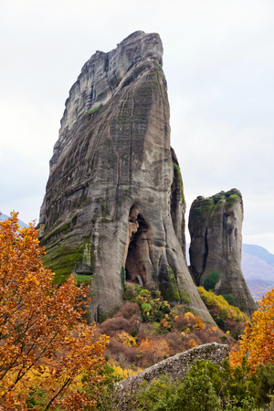 monasteries: Greek monasteries surrounded by cliffs in Meteora, Greece Stock Photo