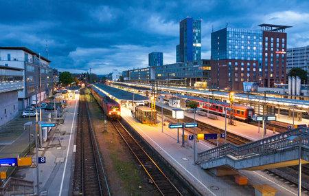 freiburg: FREIBURG im BREISGAU, GERMANY - MAY 6, 2013: Freiburg Hauptbahnhof railway station. The main railway station of German city Freiburg im Breisgau with 250 daily trains and near 60000 daily visitors