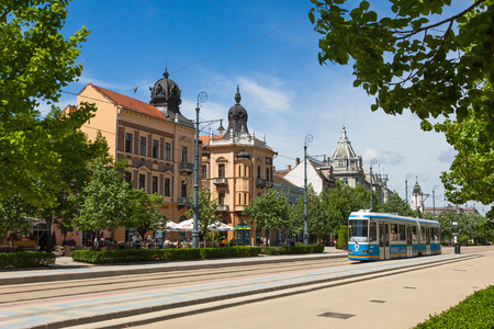 DEBRECEN, HUNGARY - APRIL 29, 2013: Market Street Hungarian: Piac utca, the major street in Debrecen city, Hungary 報道画像