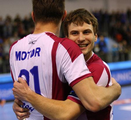 react: KYIV, UKRAINE - NOVEMBER 28, 2015: HC Motor players react after scored a goal during VELUX EHF Champions League 201516 game against Kadetten Schaffhausen