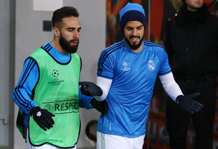 dani: LVIV, UKRAINE - NOVEMBER 25, 2015: Dani Carvajal L and Raphael Varane of Real Madrid go into the pitch before UEFA Champions League game against FC Shakhtar Donetsk at Arena Lviv stadium Editorial