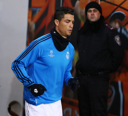 LVIV, UKRAINE - NOVEMBER 25, 2015: Cristiano Ronaldo of Real Madrid goes into the pitch before UEFA Champions League game against FC Shakhtar Donetsk at Arena Lviv stadium Editorial