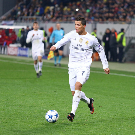 LVIV, UKRAINE - NOVEMBER 25, 2015: Cristiano Ronaldo of Real Madrid in action during UEFA Champions League game against FC Shakhtar Donetsk at Arena Lviv stadium