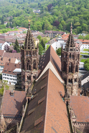 freiburg: Towers of Freiburg Munster cathedral, a medieval church in Freiburg im Breisgau city, Baden-Wuerttemberg state, Germany