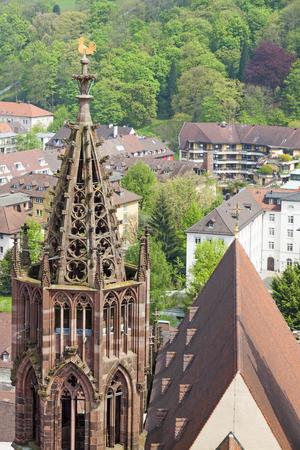 freiburg: Tower of Freiburg Munster cathedral, a medieval church in Freiburg im Breisgau city, Baden-Wuerttemberg state, Germany