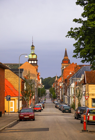 frederick street: FREDERICIA, DENMARK - JULY 29, 2012: Summer morning view of streets in Fredericia city, Denmark. City was founded in 1650 by Frederick III, after whom it was named