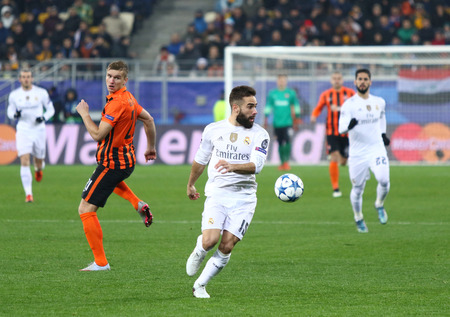 dani: LVIV, UKRAINE - NOVEMBER 25, 2015: Dani Carvajal of Real Madrid in action during UEFA Champions League game against FC Shakhtar Donetsk at Arena Lviv stadium