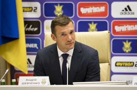 KYIV, UKRAINE - FEBRUARY 16, 2016: Assistant of Head coach of National Football team of Ukraine Andriy Shevchenko during press-conference at House of Football in Kyiv Editorial