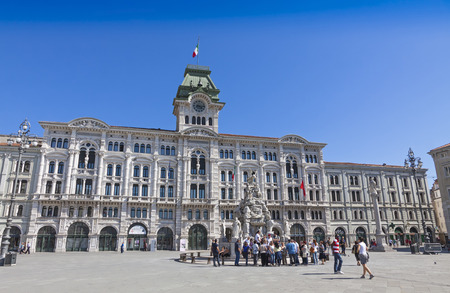 municipal editorial: TRIESTE, ITALY - MAY 25, 2014: City Hall building Comune di Triesti at the Unity of Italy square Piazza Unita dItalia in Trieste, a seaport city in north-east Italy Editorial