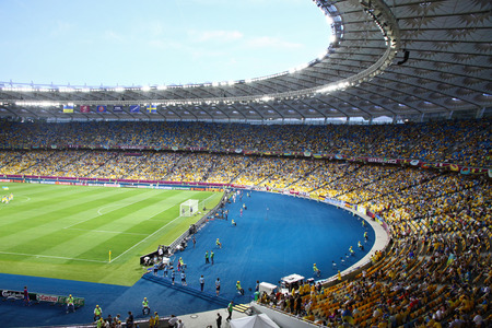 KYIV, UKRAINE - JUNE 11, 2012: Panoramic view of Olympic Stadium in Kyiv NSC Olimpiyskyi during UEFA EURO 2012 game Ukraine vs Sweden