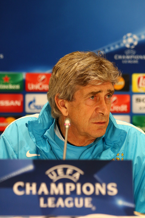 manuel: KYIV, UKRAINE - FEBRUARY 23, 2016: FC Manchester City manager Manuel Pellegrini attends press-conference before UEFA Champions League game against FC Dynamo Kyiv at NSC Olimpiyskyi stadium Editorial