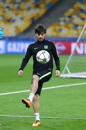 silva: KYIV, UKRAINE - FEBRUARY 23, 2016: David Silva in action during FC Manchester City training session at NSC Olimpiyskyi stadium before UEFA Champions League game against FC Dynamo Kyiv