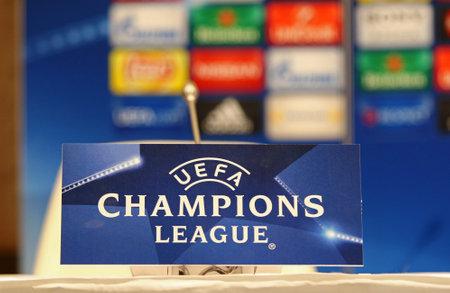 dynamo: KYIV, UKRAINE - FEBRUARY 23, 2016: Press Room details seen during press-conference before UEFA Champions League game FC Dynamo Kyiv vs FC Manchester City at NSC Olimpiyskyi stadium Editorial