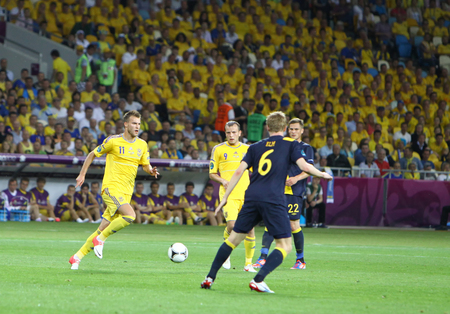 gusev: KYIV, UKRAINE - JUNE 11, 2012: UEFA EURO 2012 football game Ukraine vs Sweden at Olympic stadium in Kyiv Editorial