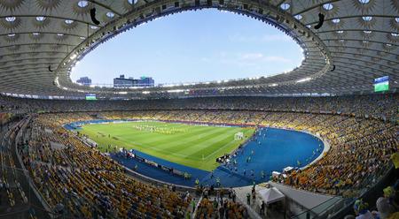 KYIV, UKRAINE - JUNE 11, 2012: Panoramic view of Olympic Stadium in Kyiv NSC Olimpiyskyi during UEFA EURO 2012 game Ukraine vs Sweden