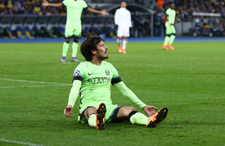 silva: KYIV, UKRAINE - FEBRUARY 24, 2016: David Silva of Manchester City reacts during the UEFA Champions League Round of 16 football game against FC Dynamo Kyiv at NSC Olimpiyskyi stadium in Kyiv