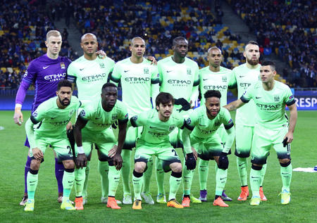 sergio: KYIV, UKRAINE - FEBRUARY 24, 2016: FC Manchester City players pose for a group photo before UEFA Champions League Round of 16 football match against FC Dynamo Kyiv at NSC Olimpiyskyi stadium in Kyiv