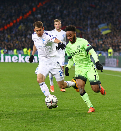 silva: KYIV, UKRAINE - FEBRUARY 24, 2016: Raheem Sterling of Manchester City in Green fights for a ball with Danilo Silva of Dynamo Kyiv during their UEFA Champions League game at NSC Olimpiyskyi stadium Editorial