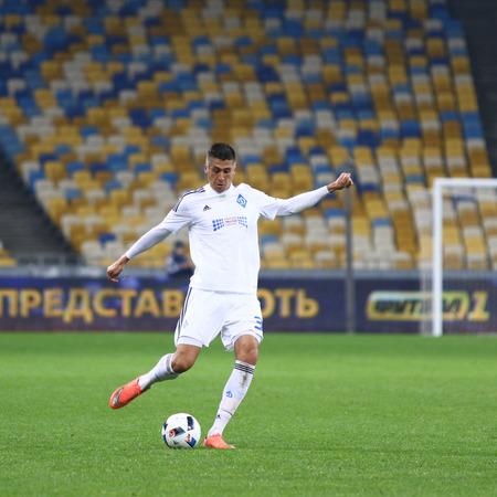 KYIV, UKRAINE - March 1, 2016: Yevhen Khacheridi of FC Dynamo Kyiv controls a ball during Ukrainian Cup quarterfinal game against FC Oleksandria at NSC Olimpiyskyi stadium in Kyiv