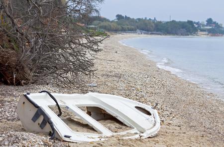 seacoast: Mediterranean winter seacoast in Nea Moudania town, Halkidiki peninsula, Greece Stock Photo