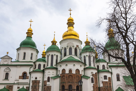 11th century: Domes and crosses of Saint Sophia Cathedral Eastern Orthodox Cathedral, 11th century in Kyiv, Ukraine. UNESCO World Heritage Site